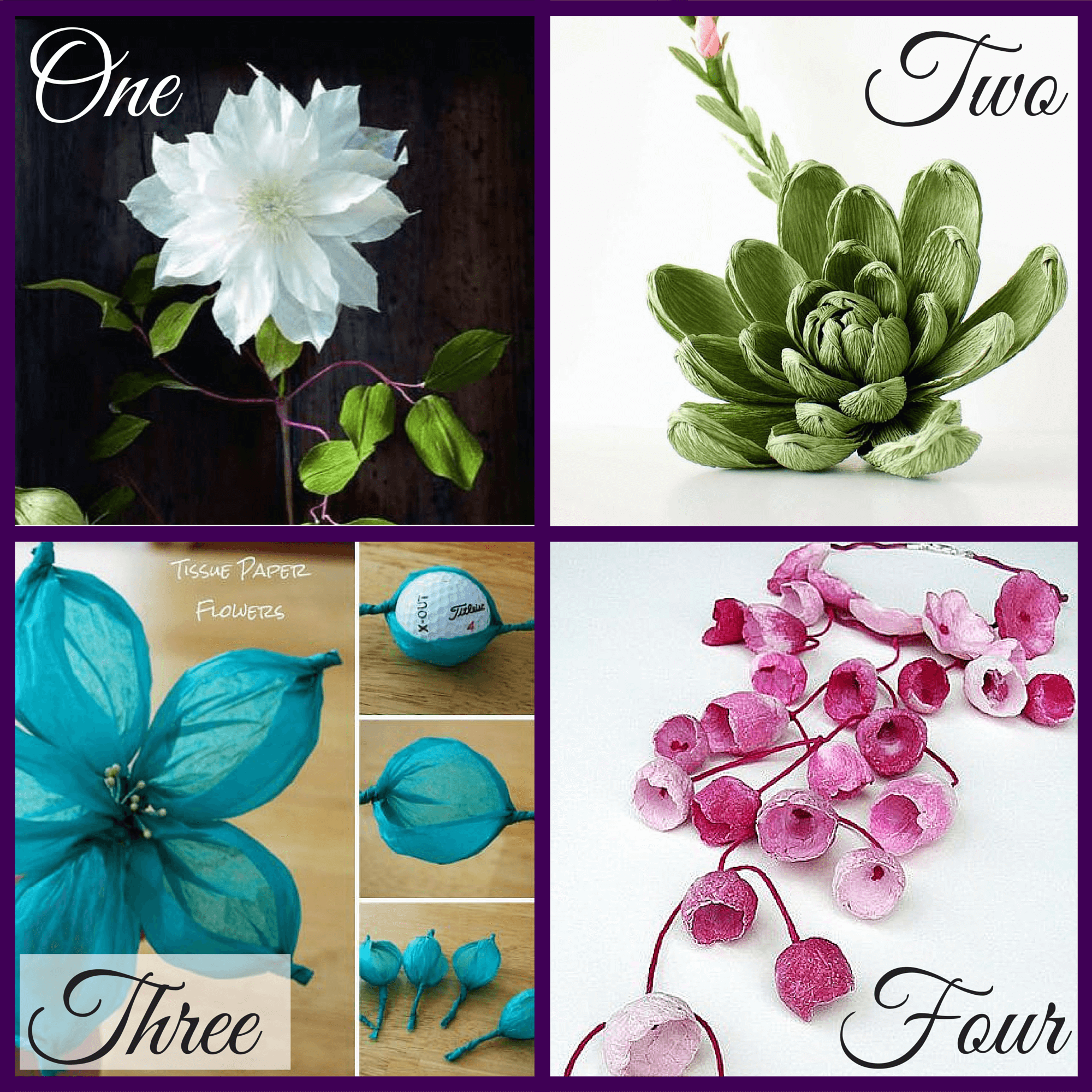 Pinterest Picks at Purple Paper House blog, of Crepe Paper Flowers