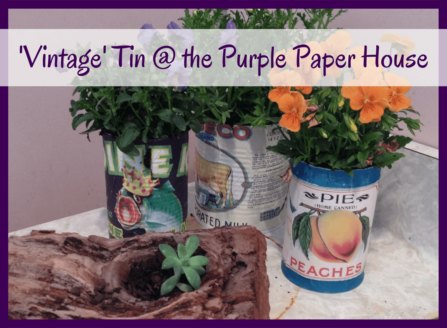 'Vintage' Tin Can uxorial on Purple Paper House blog