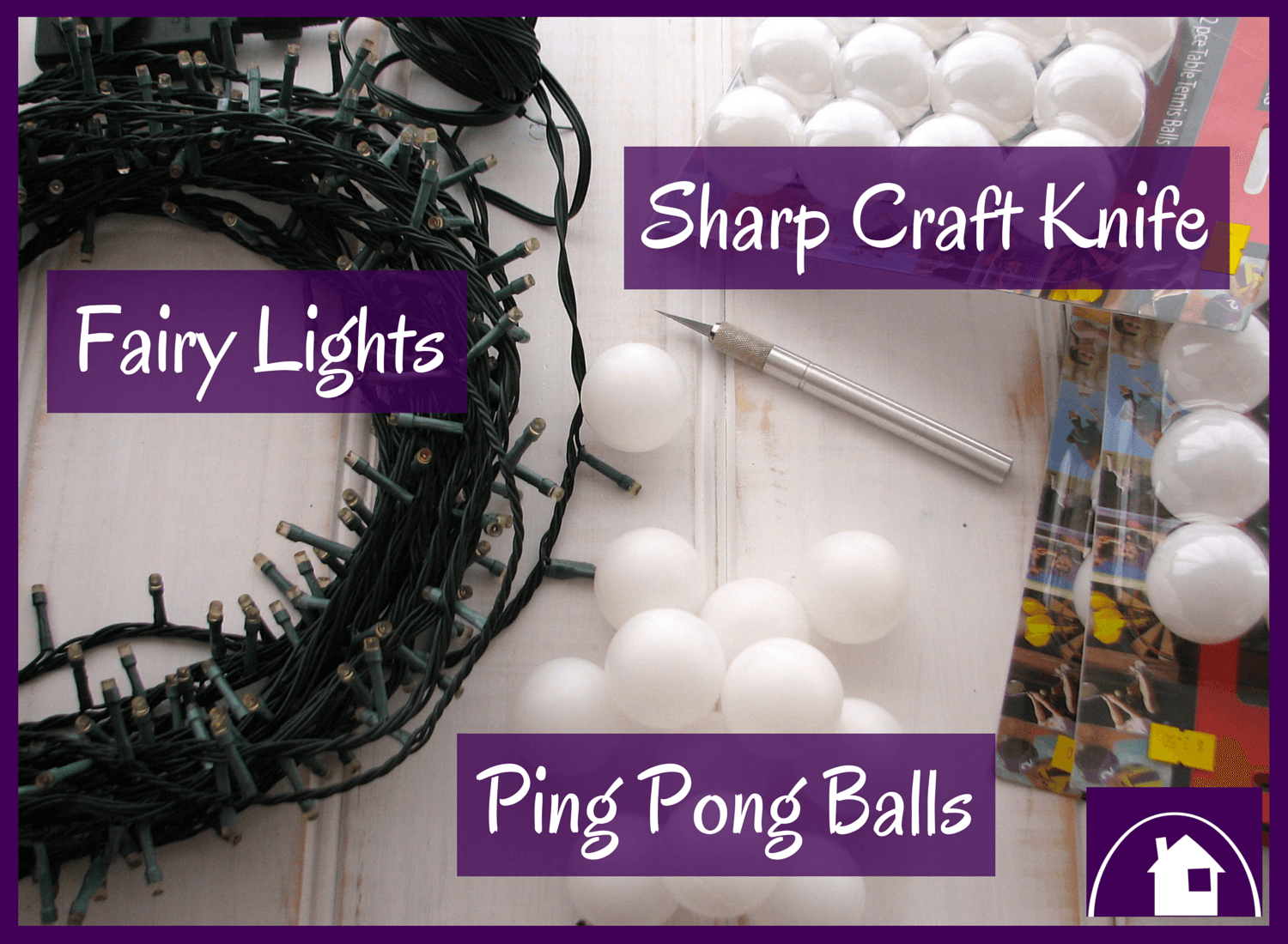 What You Need for a Super easy DIY:  a just magical tutorial for Ping Pong Fairy Lights
